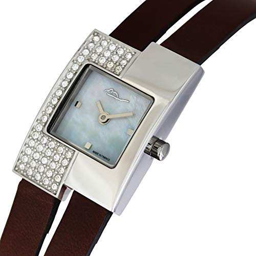 Moog Paris Off-line Women's Watch with White Mother of Pearl Dial, Brown Genuine Leather Strap & Swarovski Elements - M44052F-002