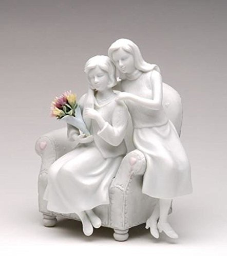 (7 Inch White Porcelain Mother and Daughter Statue with Colorful Flower Bouquet )