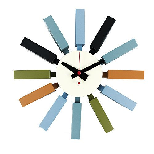 LCH Nelson Block Clock, Handmade Antique Retro Classic Mid-Century Modern Ribbon Wall Clock, Designed by George Nelson, Multicolored
