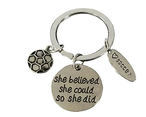 Infinity Collection Soccer Keychain, Soccer Gifts, Soccer She Believed She Could So She Did Keychain, Soccer Zipper Pull, Proud Soccer Player or Soccer Team Gifts -