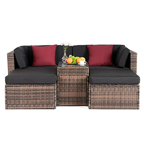 mecor 5PC Wicker Patio Furniture Set, Outdoor Furniture Sectional Cushioned Sofa Set &Glass Coffee Table, Garden,Backyard,Lawn Furniture with 2 Pillow (Brown) (Clearance Furniture Resin Patio)