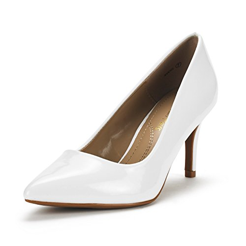 Dress Heel Pump Shoe (DREAM PAIRS Women's KUCCI White Pat Classic Fashion Pointed Toe High Heel Dress Pumps Shoes Size 8.5 M US)
