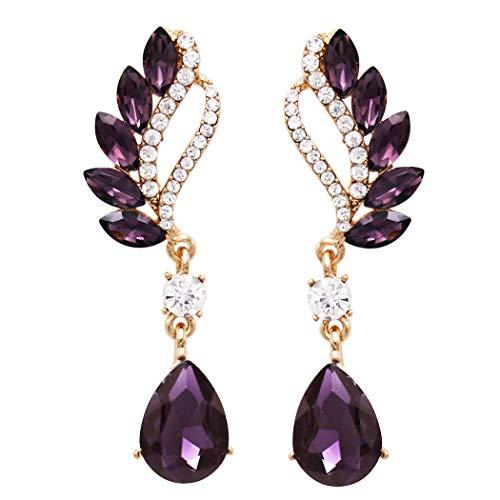 Rosemarie & Jubalee Women's Statement Teardrop and Marquis Crystal Rhinestone Post Earrings (Purple/Gold Tone)