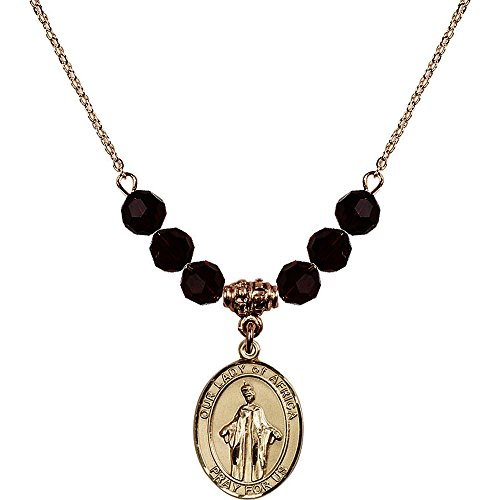 18-Inch Hamilton Gold Plated Necklace with 6mm Red January Birth Month Stone Beads and Our Lady of Africa Charm by Bonyak Jewelry