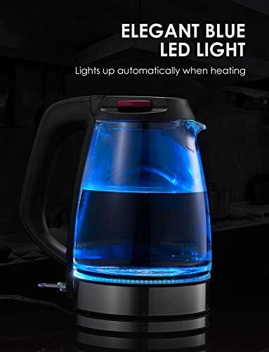 Bouilloire Électrique AICOK Bouilloire Électrique en Verre avec illumination LED, 2200W Rapide pour le Thé, Auto Arrêt, Sans BPA et Filtre Anticalcaire, Niveau Eau Visible, Poignée Cool Touch