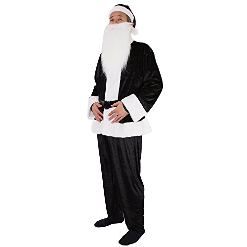 PATYMO Men's Velvet Santa Claus Costume - Waist fits up to About 39 inch -