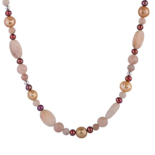 - Carolyn Pollack Sterling Silver Pink and Green Calcite, Gold and Copper Pearl Gemstone Beaded Necklace 17 Inch