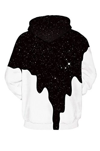 Kisscy Unisex Long Sleeve Milk Printed Muff Pocket Front Drawstring Hoodies Sweatshirt Shirt M