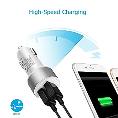 TNP USB Car Charger Dual Port w/ 18W QC Quick Charge 3.0 Smart IC Fast Charging Power Adapter Works for iPhone 11 Pro Max, Samsung Note10+ / S10, Google Pixel 4 XL, iPad, AirPods Pro, Tablets (White)