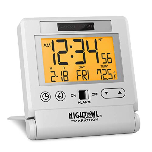 Marathon CL030036WH Atomic Travel Alarm Clock with Auto Back Light Feature, Calendar and Temperature. Folds into One Compact Unit for Travel. Batteries Included. Color-White. (Renewed)
