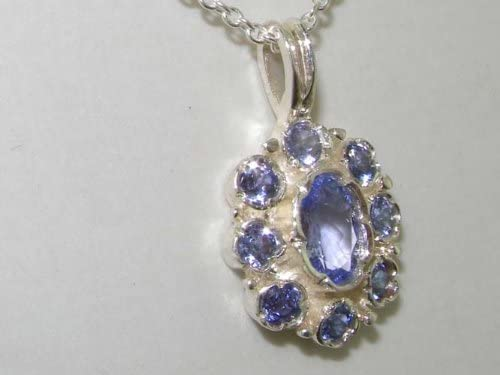 Unusual Luxury Ladies Solid White 9ct Gold Natural Tanzanite Pendant Necklace with English Hallmarks