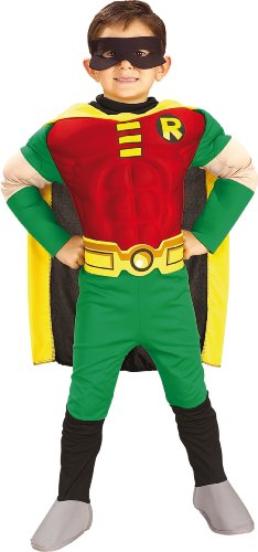 Rubies DC Comics Teen Titans Deluxe Muscle Chest Robin Costume, Small - coolthings.us