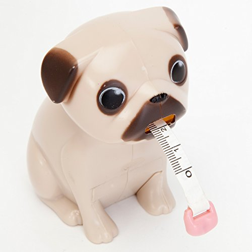 Paladone Pug Tape Measure - Includes: Measurements in both inches and centimeters. Approx. 3.3ft. in length.