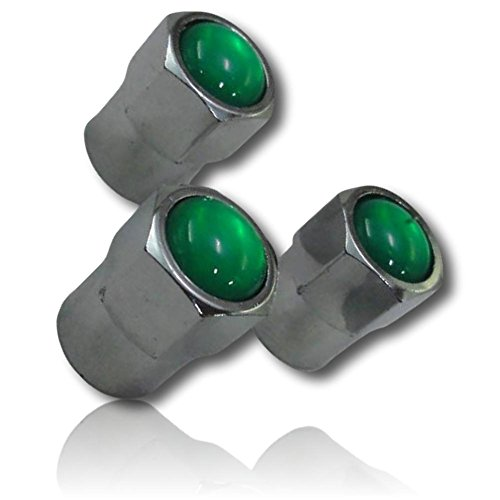 (4 Count) Cool & Custom Tire Wheel Rim Valve Stem Cap Cover Seal w/ Easy Grip Texture, Made of Anodized Chrome Plated Metal w/ Classic Shiny Metallic Cloudy Opaque Emerald Jewel Style {Green & Silver} ()