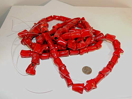 Red Bamboo Coral Tubes Approx 18x12mm Beads DWK-662