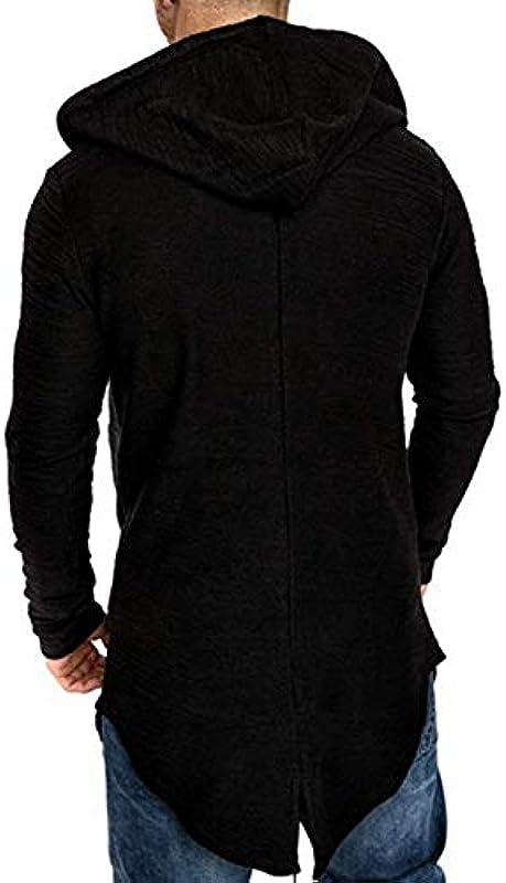 ZZYUBB Männer Lange Strickjacke Jacke Mit Kapuze Reißverschluss Slim Fit Vorne Offen Longline Cardigans Mit Taschen Männer Pullover (Color : Grey, Size : Large): Küche & Haushalt