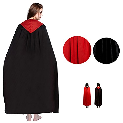 Double Halloween Costumes (Halloween Cloak Double-faced Hooded Costumes Black Red Goth Demon Robe Party Cape for Women Adults)