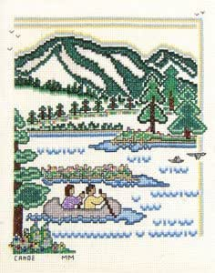 Canoe counted cross stitch pattern home kitchen for Cross stitch kitchen designs