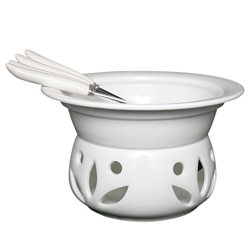 Itikky Cheese Chocolate Fondue Pot Set Porcelain with Forks 9 fl oz ()