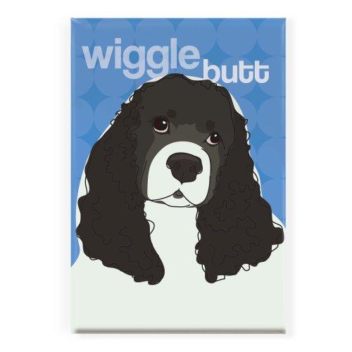 Pop Doggie Wiggle Butt Black and White Cocker Spaniel Fridge Magnet