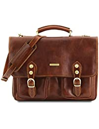 Modena Leather briefcase 2 compartments Brown