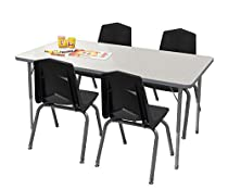 Marco Group Adjustable Rectangular Classroom Table and 4 Chair Set - 24 x 48 with Toddler Legs