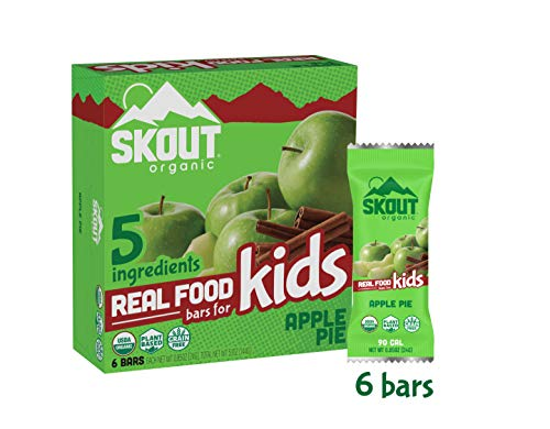 Skout Organic Real Food Bars for Kids – Apple Pie – Vegan Snacks – Plant Based Bars – Non-GMO – Gluten Free, Dairy Free, Soy Free – No Sugar Added – 0.85 oz (6 Count)