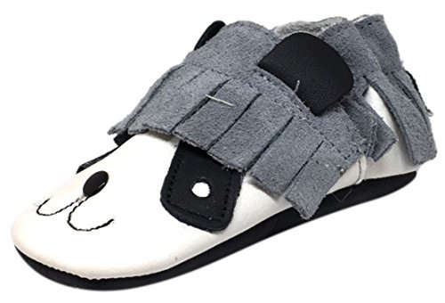 Barney Flats - ShooShoos Girl's and Boy's Barney The Boss Soft Leather White Black Suede Fringe Slip On Panda Animal Character Baby Crib Shoe XL/18-24 Months