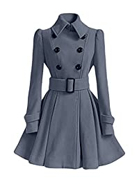 NiSeng Women's Double Breasted Slim Fitted Long Trench Coat Jacket with Belt
