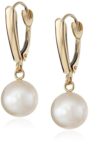 14k-Yellow-Gold-Freshwater-Cultured-AA-Quality-8mm-9mm-Pearl-Drop-Earrings