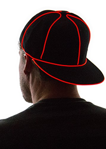 Neon Nightlife Light Up Snapback Hat, Red - Led Light Stick Man Costume