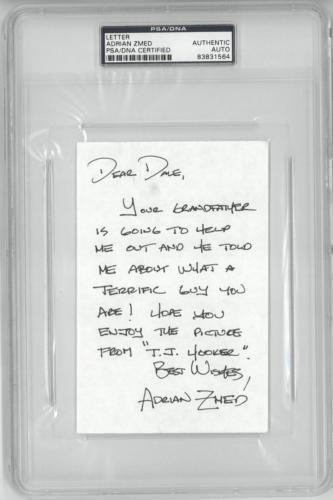 adrian-zmed-signed-tj-hooker-autographed-4x6-letter-slabbed-8383156
