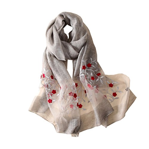 (Women's Luxury Soft Wool Silk Scarf With Handmade Style Floral (Grey))