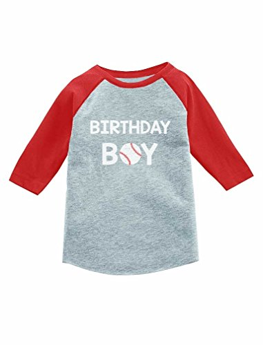 Tstars Birthday Boy Gift Baseball Loving Boys 3/4 Sleeve Baseball Jersey Toddler Shirt 3T Red (Sleeve 3/4 Birthday)