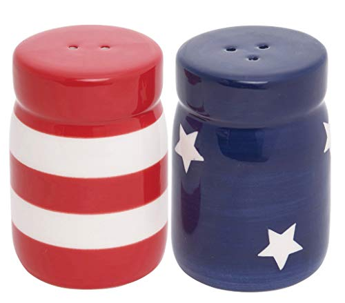 Patriotic Ceramic Salt and Pepper Shaker Set in Red, White and Blue, Stars and Stripes