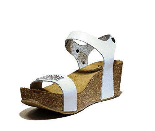ONYX FASCIA Stass zapatos de las sandalias de la cuña, Media Wedge, NUEVO VERANO COLECCIÓN PRIMAVERA 2016 CUERO BLANCO