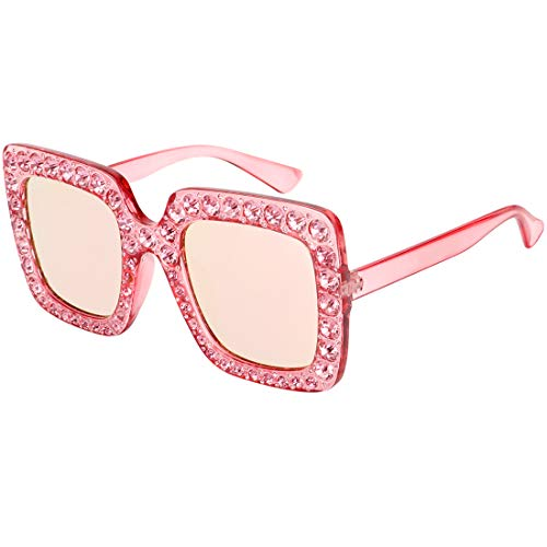 ROYAL GIRL Sunglasses Women Oversized Square Crystal Brand Designer Shades Pink Mirrored Lens (Eye Wear Shop)