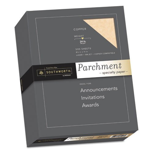 Parchment Specialty Paper, Copper, 24lb, 8 1/2 x 11, 500 Sheets by Southworth