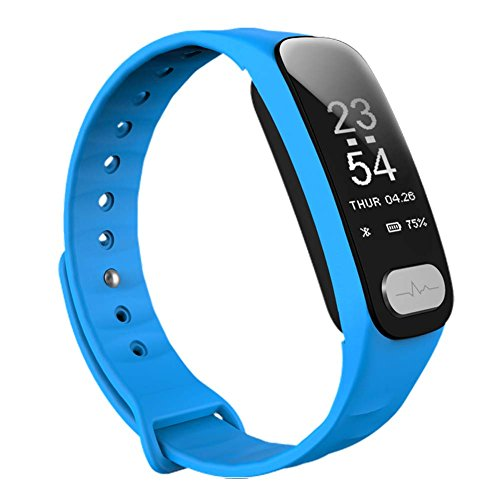 WFDRD Fitness Tracker,Smart Band Calorie Counter Sports Bracelet Health Monitor Wristband W/ 24h Continuous Heart Rate Sleep Monitor Waterproof Smart Watch for Android & IOS Phones (blue) (Pressure Wrist Blood Prevention Monitor)