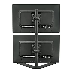 Mount-It! Dual Monitor Stand Free Standing Desk Mount Adjustable Height for 13, 17, 20, 24, 27 Inch Computer Monitor Screens, VESA 75x75 and 100x100, Black (MI-758)