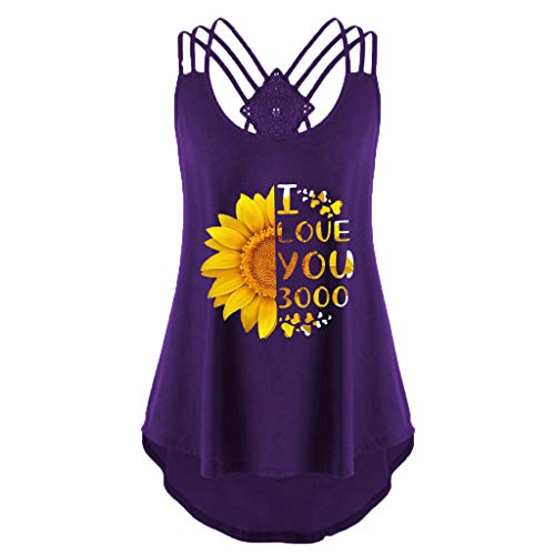 (Women Camisole Summer Tank Top, LIM&Shop  Casual Plus Size Backless Sunflower Off Shoulder T-Shirt Swing Shirt Vest Purple )