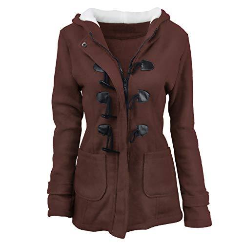 ZFFde y abrigo de invierno de tamaño de hebilla Color con Coffee Invierno cuerno capucha 3XL Abrigo RqrnR8