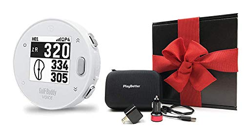 Golf Buddy Voice X with PlayBetter Portable Charger Bundle | Handheld Audio Golf GPS, 38,000 Worldwide Courses, Large Number Display, Bluetooth Updates (White, Gift Box Bundle)
