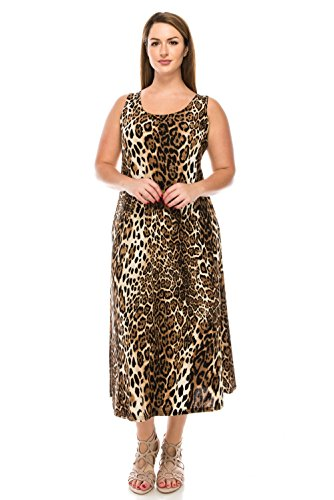 Jostar Stretchy Long Tank Dress with Print in Animal Design Brown Color in X-Large Size - Animal Print Tank Dress