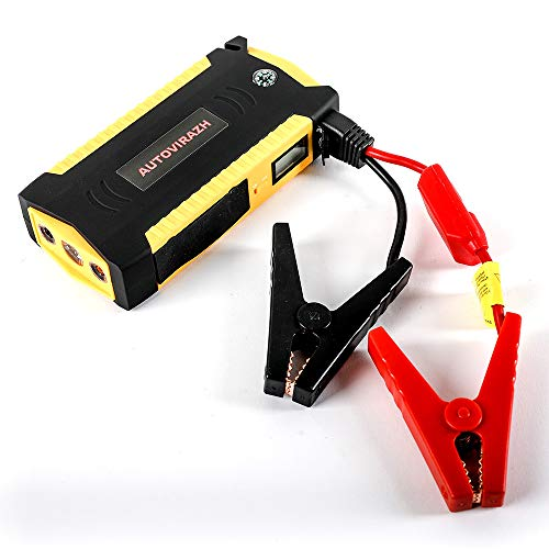 AutoVirazh Portable Car Battery Jump Starter And Power Bank 600A 16500mAh (up to 6.5L Gas, 5.2L Diesel Engine), Jumper Cables Kit And Auto Battery Booster Power Pack w/USB Smart Charging Port. ()