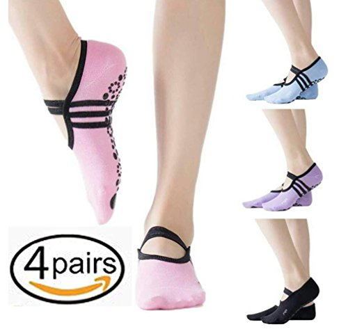 Yoga Socks for Women with Grip & Non Slip Skid for Barre Ballet Pilates Fitness Dance (four Pairs) – DiZiSports Store
