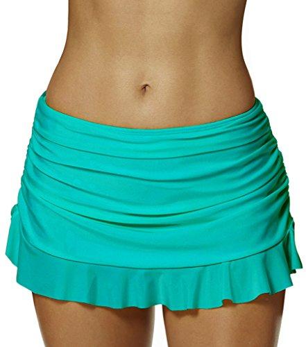 Seagoo Swim Skirt Bottoms for Women Bikini Skirted Slimming Chlorine Resistant (Green Womens Skirt Suit)