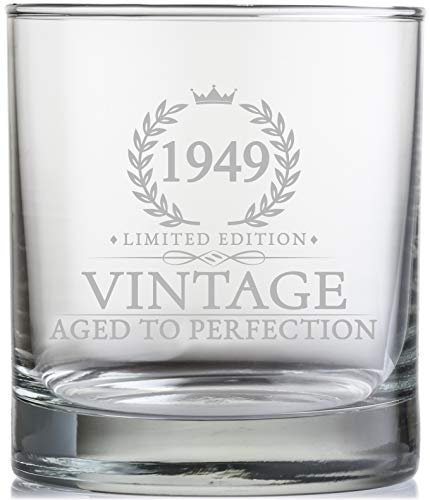 70th Birthday Gifts for Men Turning 70 Years Old - 11 oz. Vintage 1949 Whiskey Glass - Funny Seventieth Whisky, Bourbon, Scotch Gift Ideas, Party Decorations and Supplies for Him, Husband, Dad, Man -