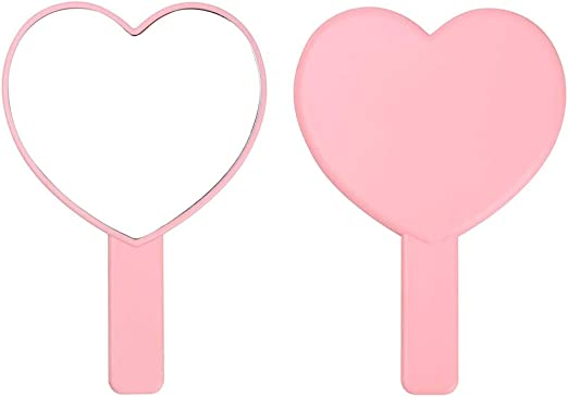 Amazon Com Tbwhl Heart Shaped Travel Handheld Mirror Cosmetic Hand Mirror With Handle Pink Home Kitchen