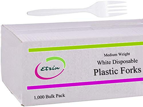 Count Medium Weight Plastic Cutlery - Plastic Forks 1000 Forks Count - Medium Weight Forks And Soup Spoons And Tea Spoons And Knives Set (Each Kind Separate Bulk Box)